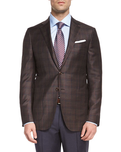 Trofeo Plaid Two-Button Jacket, Textured Satin-Stripe Tie & Trofeo Yarn-Dye Trousers