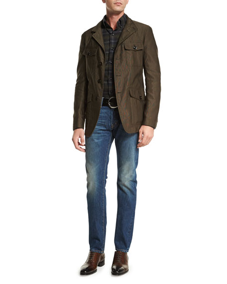 TOM FORD Corded Lightweight Military Jacket, Olive