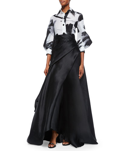 Half-Sleeve Haiku Brushstroke Blouse & Side-Draped Silk Ball Skirt