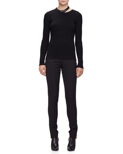 Long-Sleeve Leather-Neck Top & Slim-Leg Side-Zip Pants