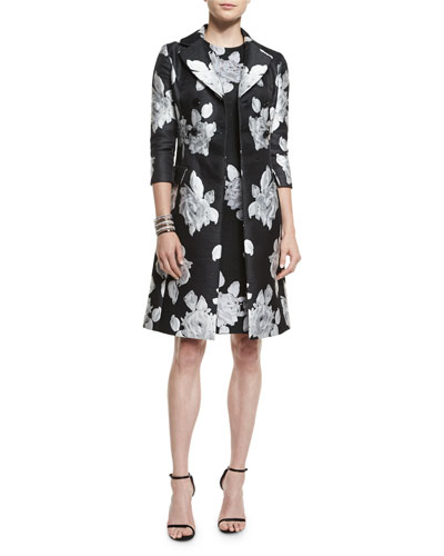 Macro Floral-Print Duchesse Satin Coat, Macro Floral Jacquard Knit Dress & Open Crystal Cuff Bracelet