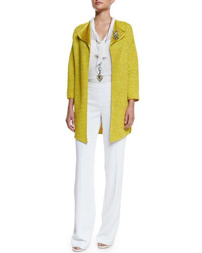 Hidden Lattice Knit Jacket, Silk Georgette Tie-Neck Shell & Jennifer Fit Boot-Cut Pants
