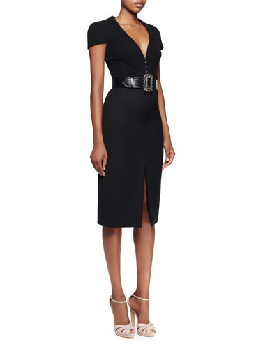 Alexander McQueen Cap-Sleeve Deep-V-Neck Dress & Wide Leather