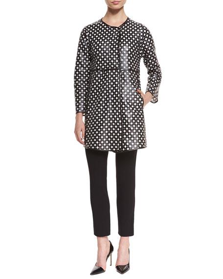 Armani Collezioni Perforated Leather Coat, Black/White