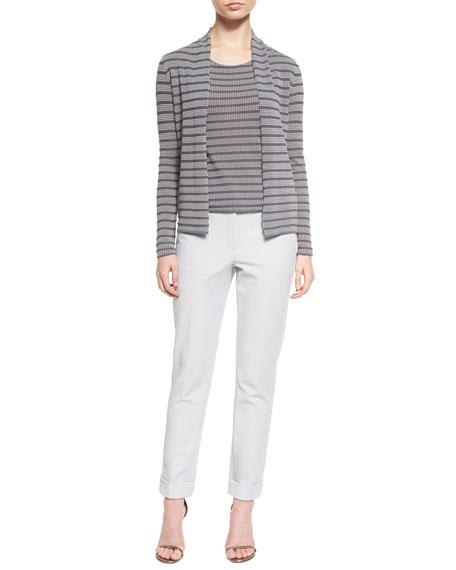 Armani Collezioni Open-Front Cubic-Knit Cardigan, White/Gray