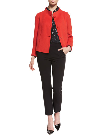 Armani Collezioni Button-Front Swing Jacket, Red