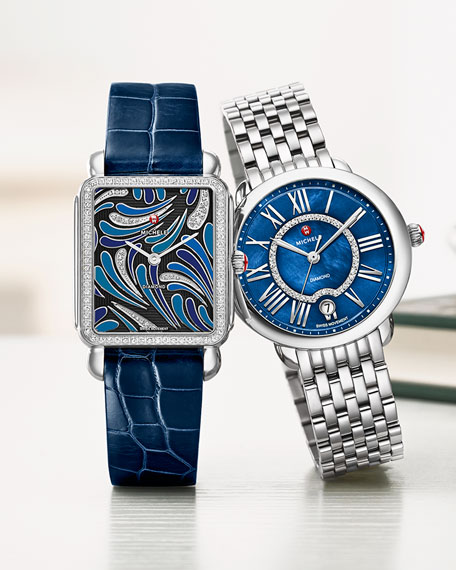 MICHELE 18mm Deco Diamond Peacock Watch Head