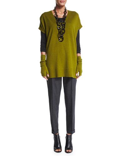 Eileen Fisher Short-Sleeve Merino Jersey Tunic, Long-Sleeve