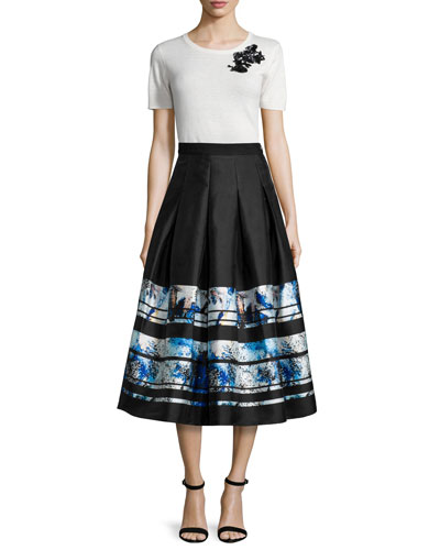 Short-Sleeve Floral Embroidered Top & Brushstroke-Border Pleated Midi Skirt