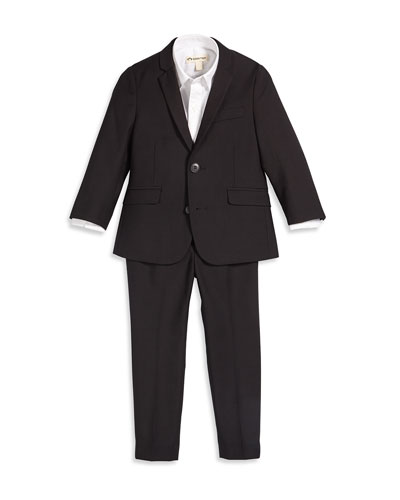 Two-Piece Modern Suit & Solid Button-Front Shirt