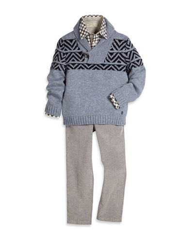 Chevron-Intarsia Pullover Sweater, Plaid Poplin Shirt & Straight-Leg Corduroy Pants