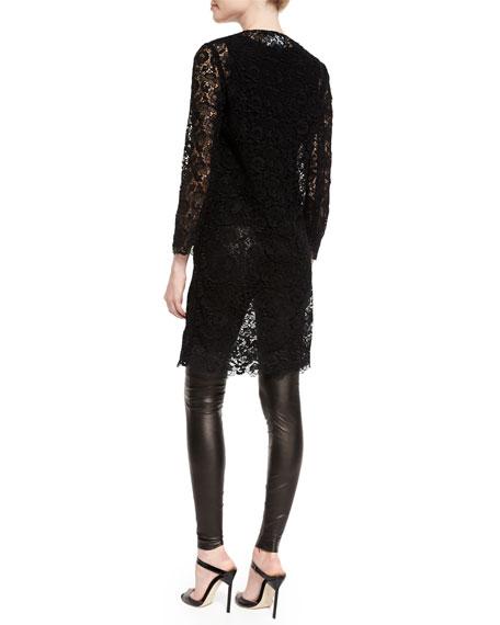 Bracelet-Sleeve Guipure-Lace Coat, Black