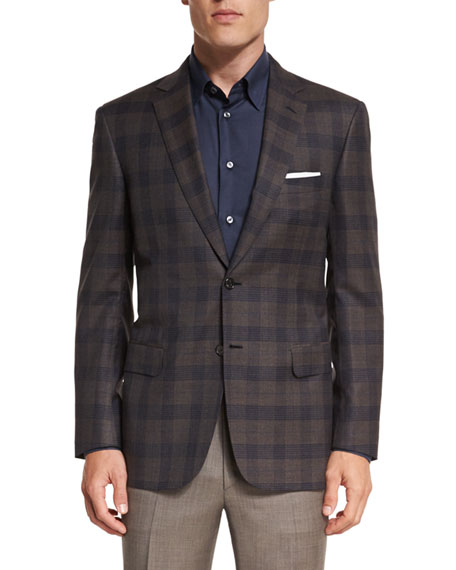 Brioni Plaid Two-Button Sport Jacket, Brown