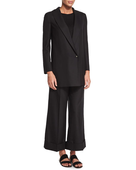 THE ROW Easy Textured One-Button Jacket, Black