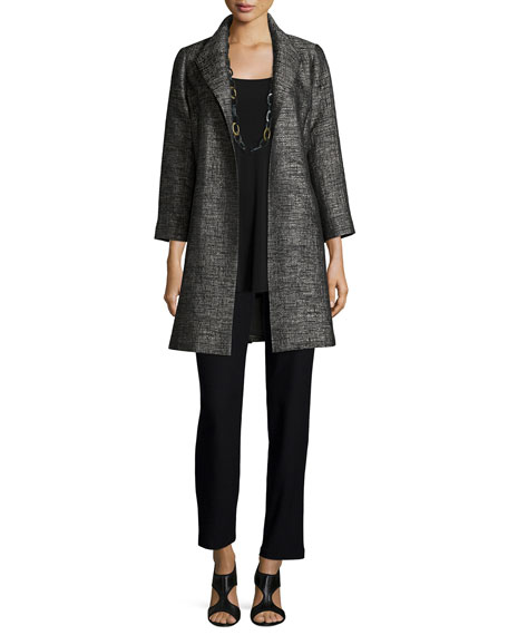Eileen Fisher Faceted Jacquard Coat, Petite