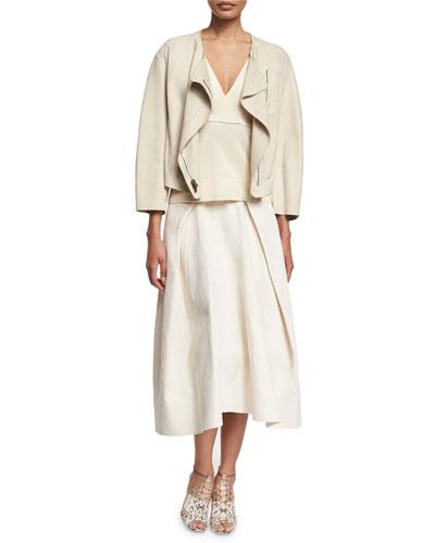 Donna Karan Bracelet-Sleeve Shearling Fur Jacket, Sleeveless