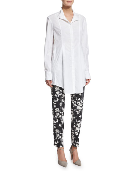 Donna Karan Long-Sleeve Button-Front Tunic, White