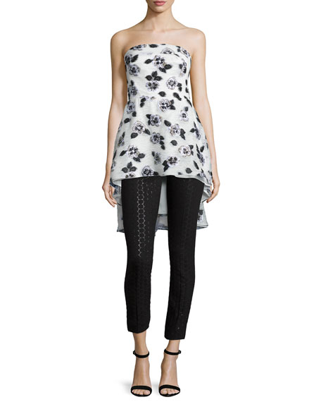 Lela Rose Strapless Floral-Embroidered Top, Ivory/Black