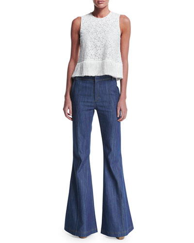Lace Fringe-Trim Crop Top & High-Waist Flare Jeans