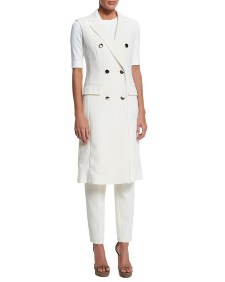 Escada Double-Breasted Sleeveless Long Jacket, Off White