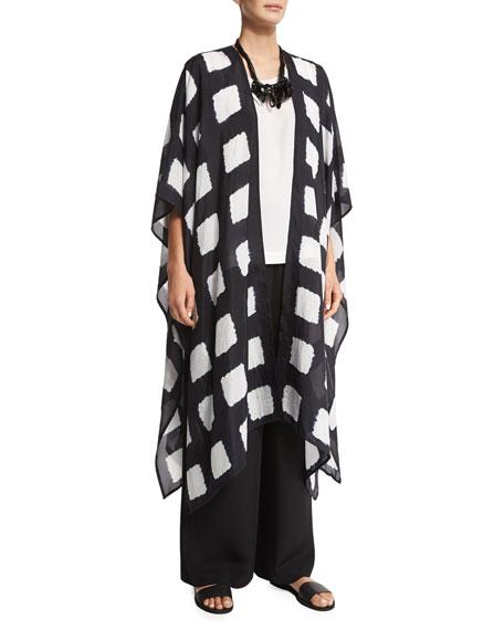 eskandar Half-Sleeve Open-Front Coat, Indigo Dark