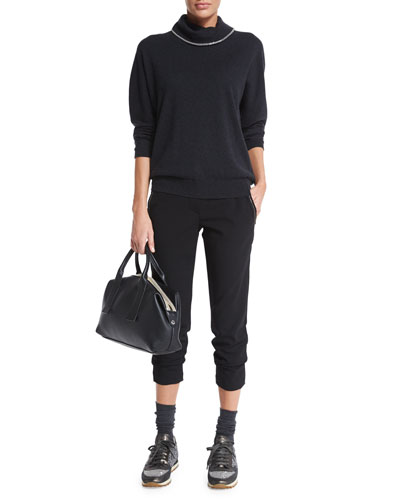Monili-Trim Cashmere Sweater & Tailored Monili-Trim Cigarette Pants, Black