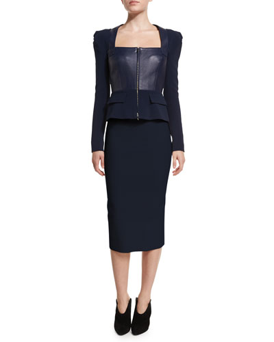 Galaxy Square-Neck Peplum Jacket & Fitted Pencil Skirt, Navy