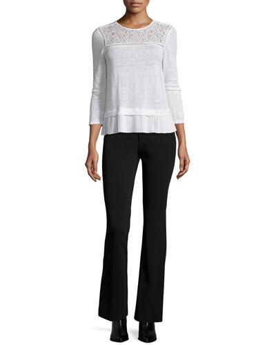 Lace-Trim Linen Top & Techy Slim-Fit Boot-Cut Pants