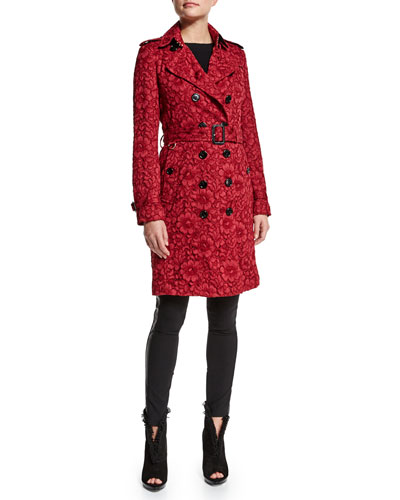 Floral-Lace Trench Coat & Low-Rise Leggings W/Racing Strip