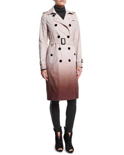 Ombre Trench Coat & Low-Rise Leggings W/Racing Strip