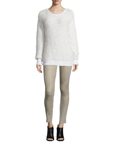 Corrine Long-Sleeve Sweater & Suede Skinny Ankle Pants
