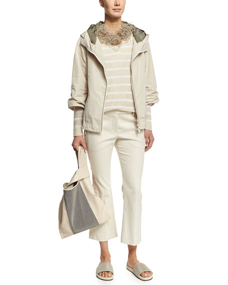 Brunello Cucinelli Military Taffeta Hooded Jacket, Vanilla