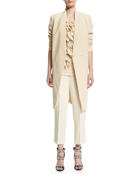Brunello Cucinelli V-Neck Mid-Length Jacket, Butter