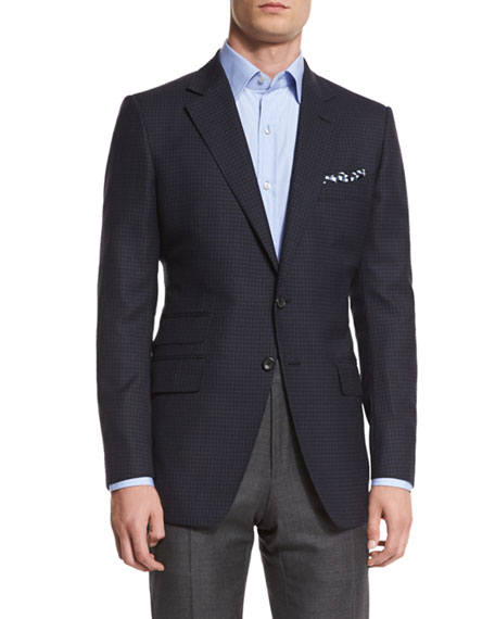 TOM FORD O'Connor Base Mini-Check Sport Jacket, Navy