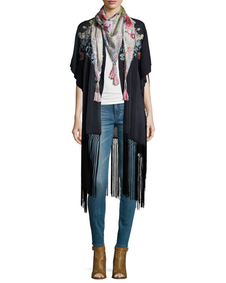 Johnny Was Collection Argent Embroidered Kimono with Fringe