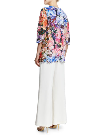 3/4-Sleeve Floral Lace Top