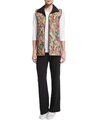 Caroline Rose Rain or Shine Mosaic-Print Vest, 3/4-Sleeve