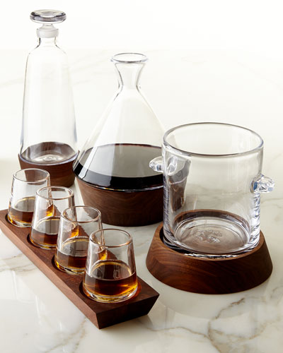 Cordial Glass Set, Decanter, Carafe, and Ice Bucket