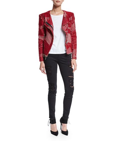 IRO Mepsie Tweed Multipattern Jacket, Red