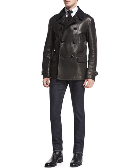 TOM FORD Vintage-Inspired Double-Breasted Leather Peacoat, Black
