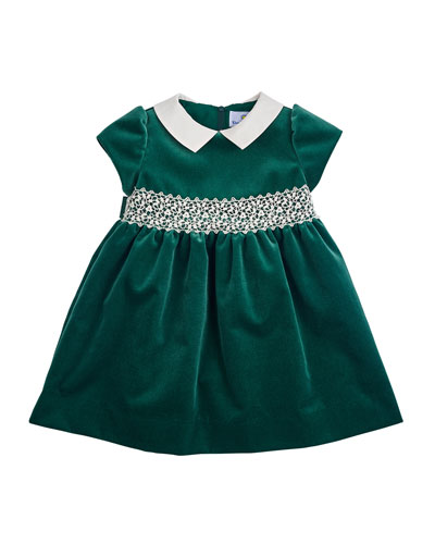 Velvet Cap-Sleeve Dress, Green