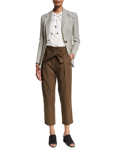 Striped Single-Button Blazer, Bohemian Lace-Front Top & Paperbag-Waist Ankle Trousers