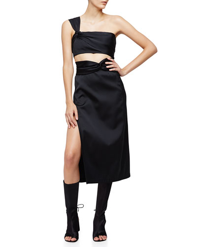 Satin One-Shoulder Crop Top & Knotted Tea-Length Skirt