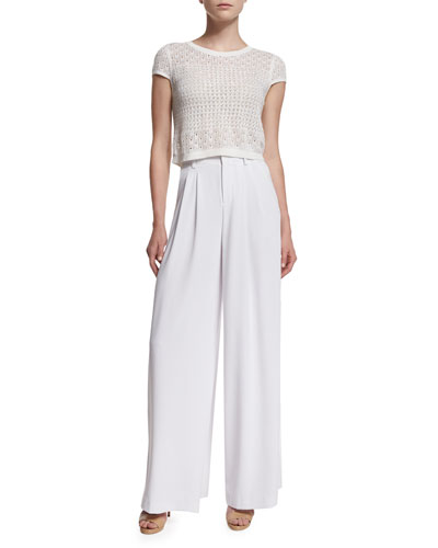 Ester Short-Sleeve Eyelet Sweater & High-Waist Wide-Leg Trousers