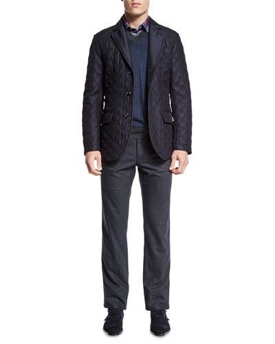 Quilted Three-Button Silk Blazer, Houndstooth V-Neck Sweater, Tartan Plaid Long-Sleeve Sport Shirt & Five-Pocket Cashmere-Blend Trousers