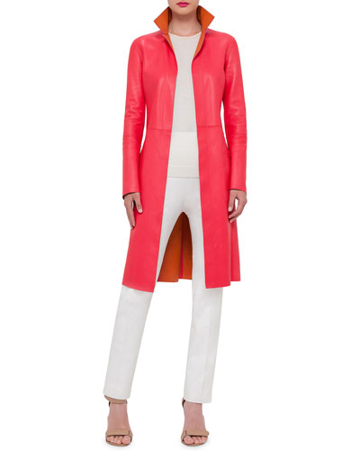 Reversible Leather Long Coat, Long-Sleeve Cashmere Pullover Sweater & Melissa Techno Cotton/Silk Pants