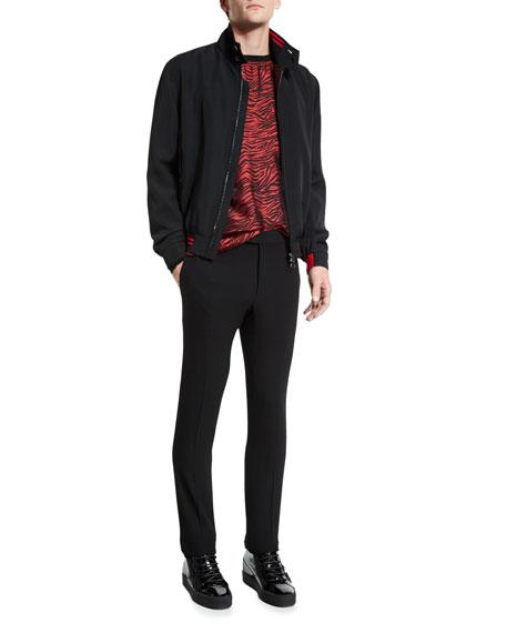 Lanvin Zip-Up Bomber Jacket with Striped Trim, Black