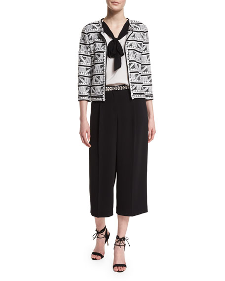 St. John Collection Elia Geometric-Knit 3/4-Sleeve Jacket,