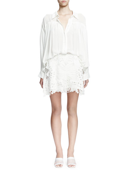 Chloe Long-Sleeve Poet Blouse W/Self Tie, Milk