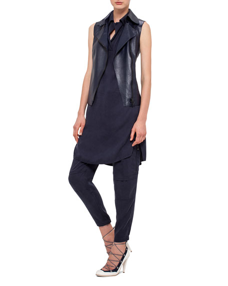 Akris punto Napa Leather Moto Vest, Navy